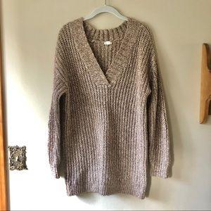 Garage • tan v neck sweater